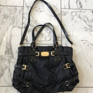 Michael Kors Black Canvas Purse with Snake Accent